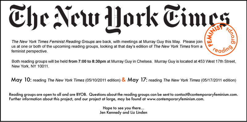 New York Times Feminist Reading groups at Murray Guy flyer
